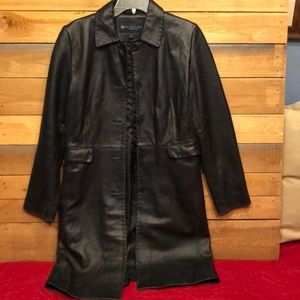 Kenneth Cole Reaction Long Black Leather Coat